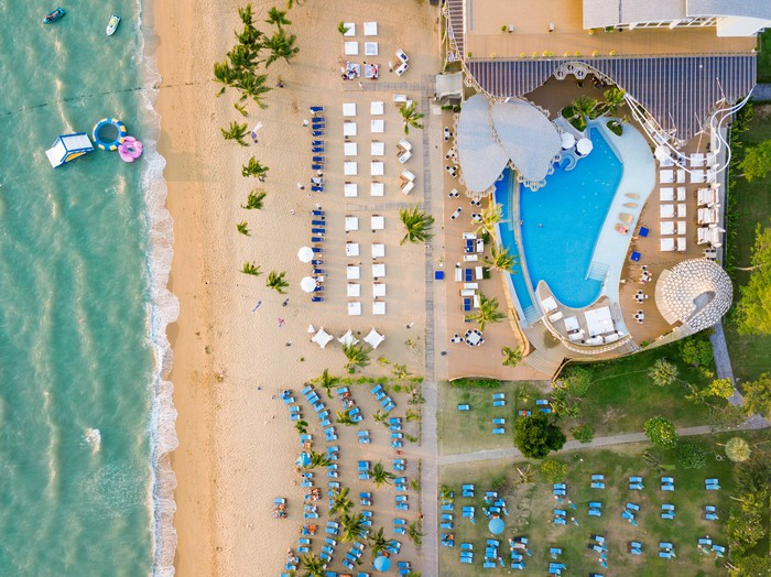 An aerial view of a beach resort.