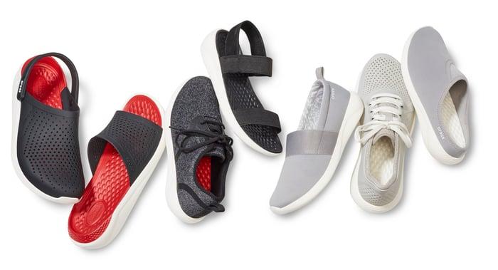 Various Crox literide shoes.
