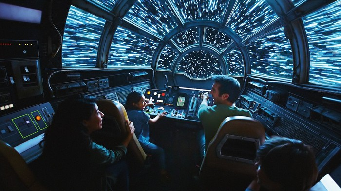 Concept art of the Millennium Falcon: Smuggers Run console with six kids riding.