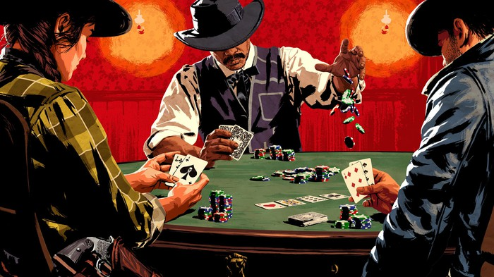 A screenshot from Red Dead Redemption with three animated characters playing poker.
