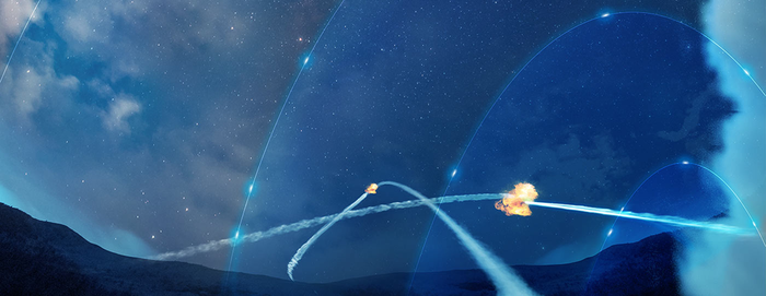 A graphic of a missile defense system.
