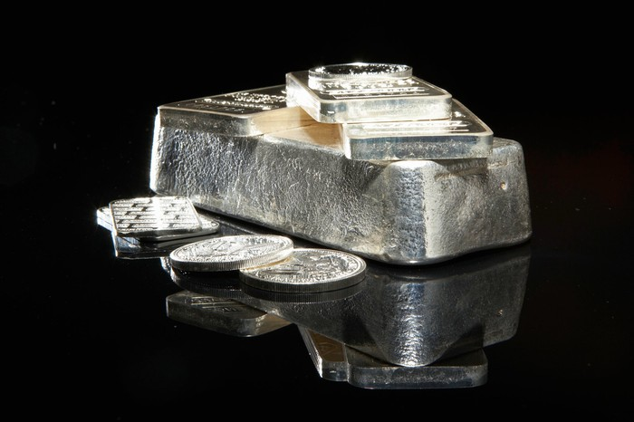 Silver bars and coins.