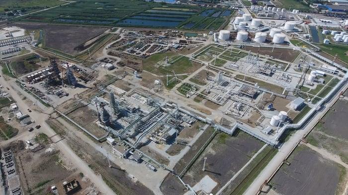 A natural gas processing facility.