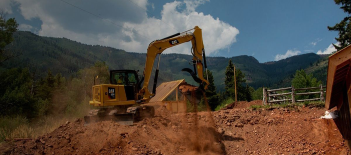 A Caterpillar excavator.