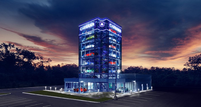 Carvana's 19th car vending machine. It's eight stories tall and holds 27 vehicles.