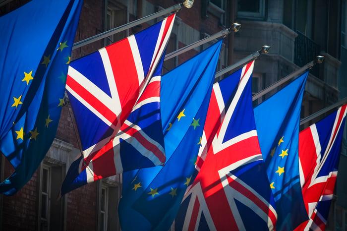 Alternating British and EU flags