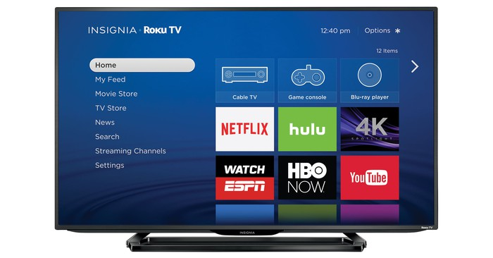 The Roku home page displayed on an Insignia smart TV