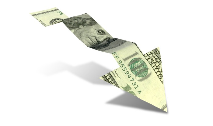 Cut-out of $100 bill forming an arrow trending downward