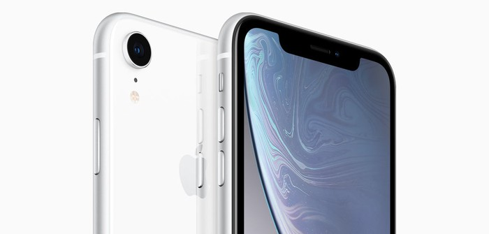 Two white iPhone XR units