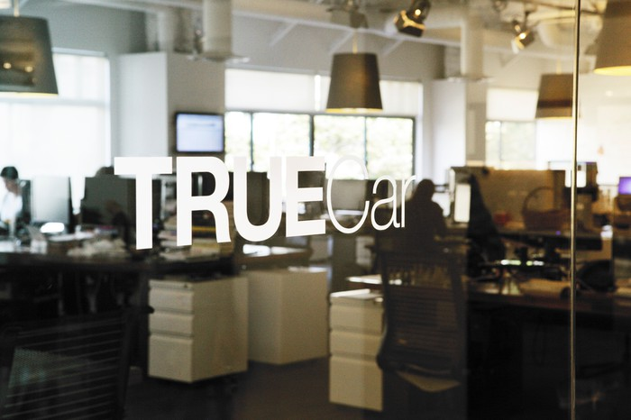 The entrance to TrueCar's corporate offices in Santa Monica, California.