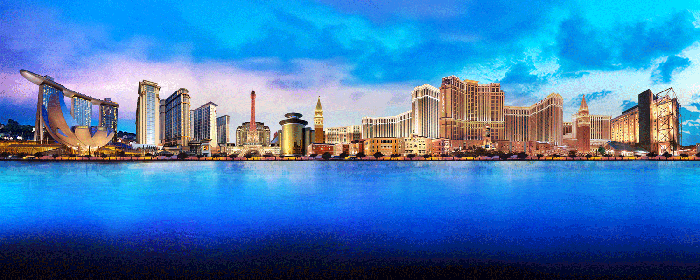 A panoramic depiction of Las Vegas Sands properties.