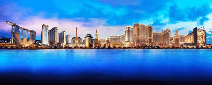 A panoramic depiction of Las Vegas Sands properties.