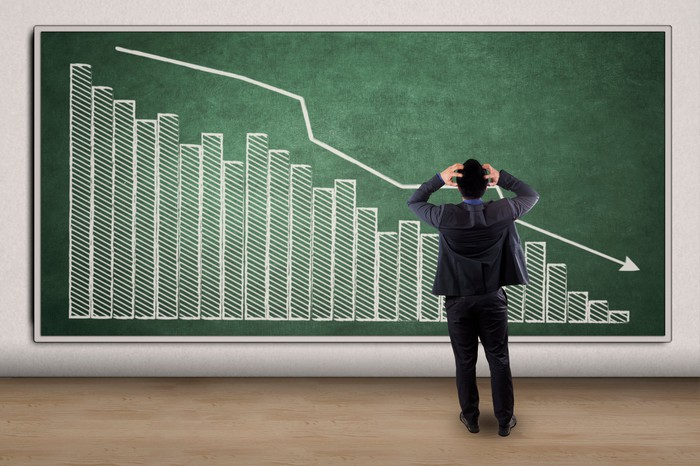 A man in a business suit, with his hands to his head, stands in front of a wall on which a declining chart is drawn in chalk.