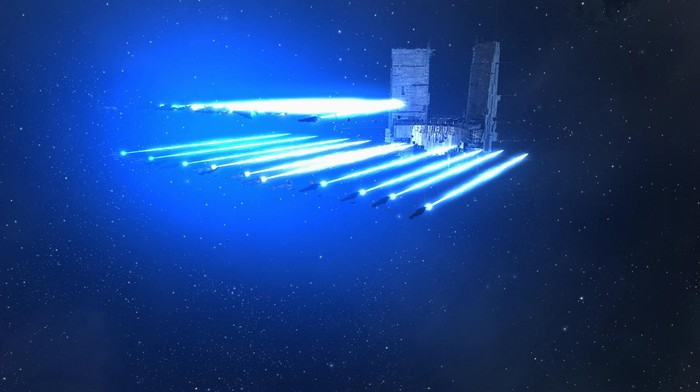Animated spaceship firing lasers.