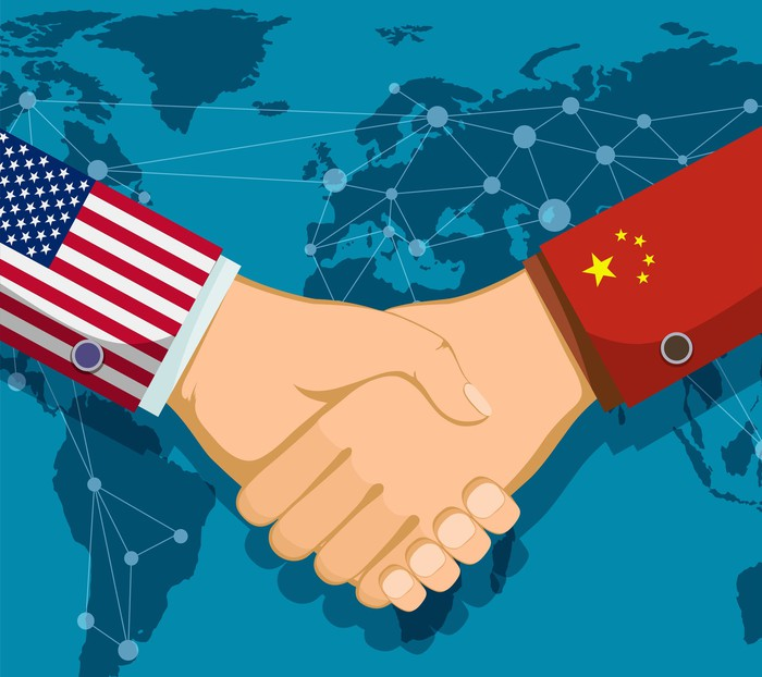 Two arms shaking hands over a world map, one with a sleeve displaying the U.S. flag and the other displaying China's