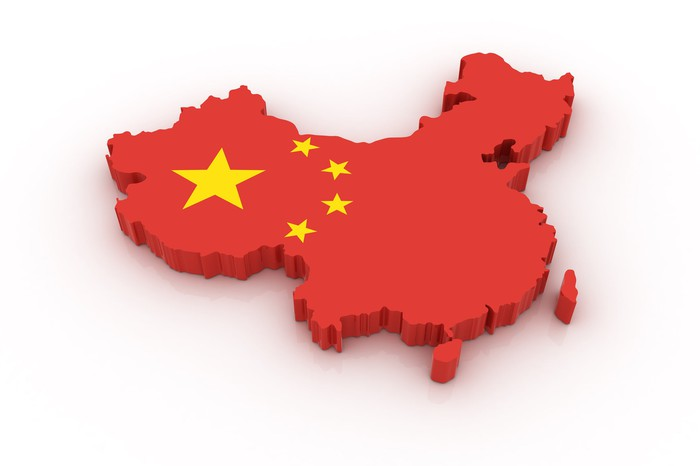 Chinese map merged with Chinese flag
