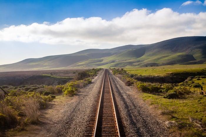 A single railroad track leading into the distance in a bucolic landscape