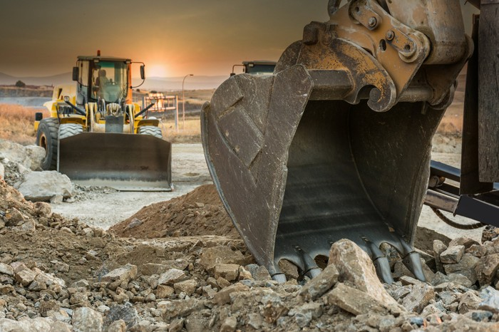 A bulldozer and an excavator on a construction site