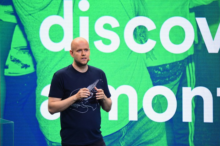 Spotify CEO Daniel Ek giving a presentation.