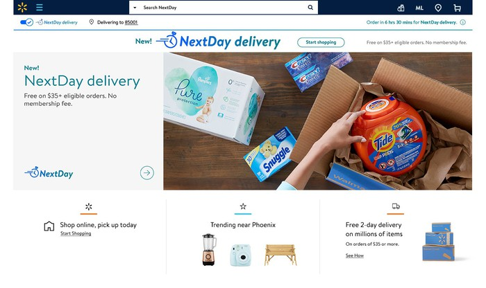 The Walmart.com homepage highlighting its NextDay delivery program.