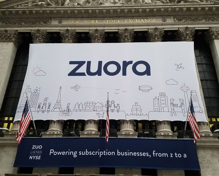 A Zuora banner displayed outside the New York Stock Exchange on the day of the company's IPO.