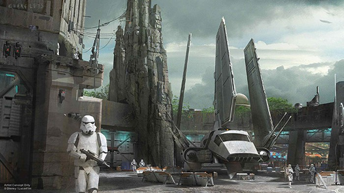 Early concept art for Galaxy's Edge showing a stormtrooper in Batuu.