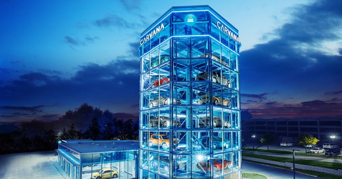 The glass-enclosed auto vending machine at Carvana.