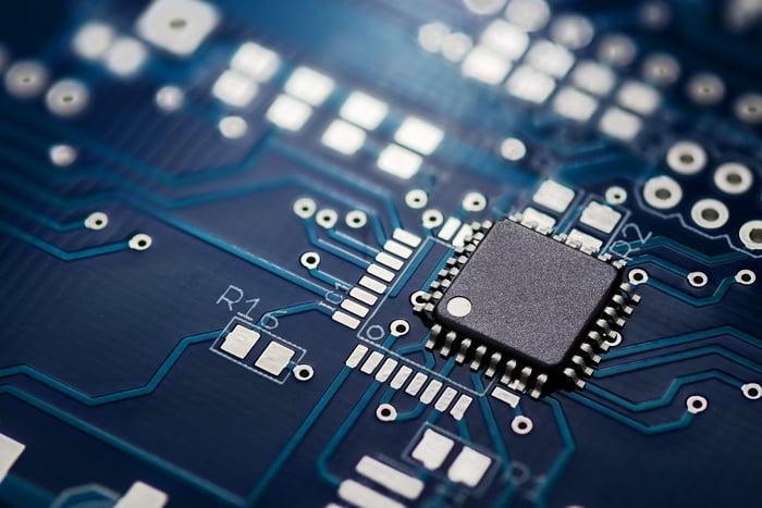A close-up of an integrated circuit