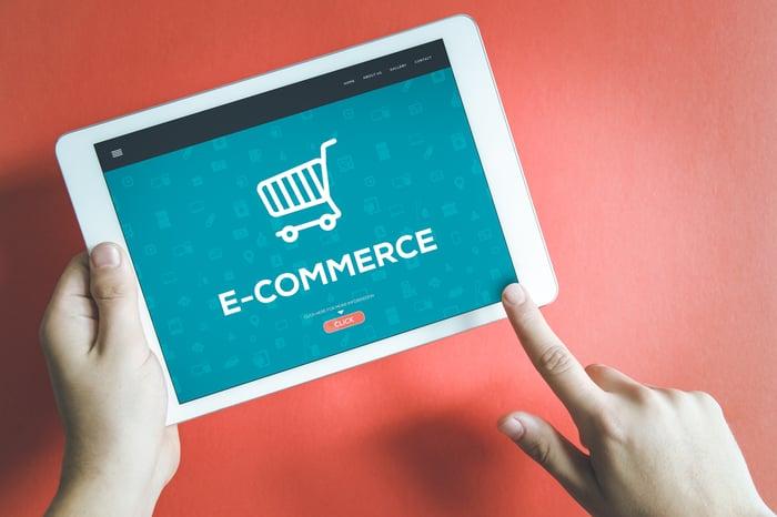 A virtual shopping basket on a tablet app.
