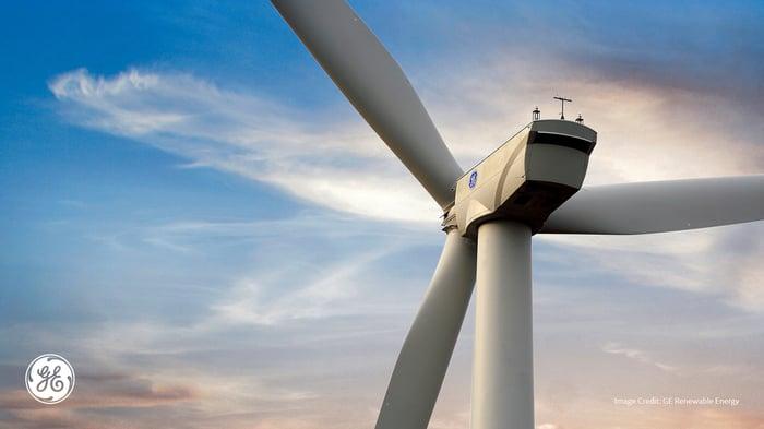 Wind turbine with GE logo in corner.