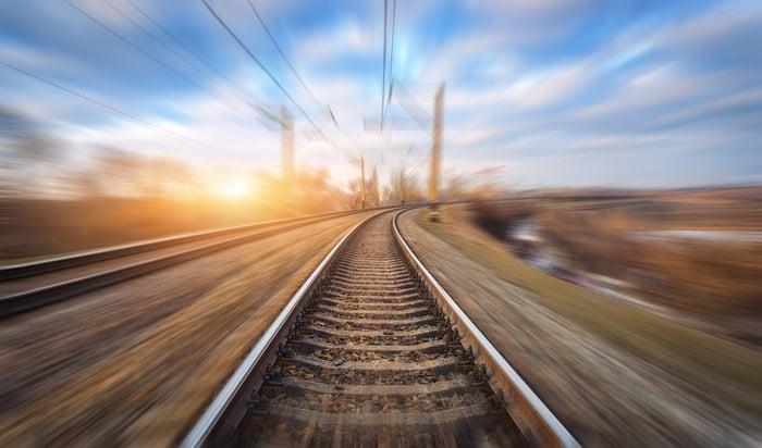 A rail track.