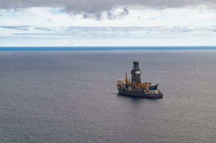 A drillship on the open ocean.