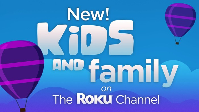 A banner ad for new kids and family content on The Roku Channel