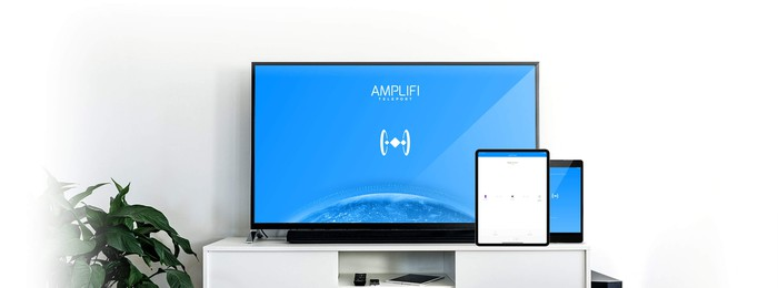 A television with the Amplifi logo against a blue background and two smaller tablets with the Amplifi app open.