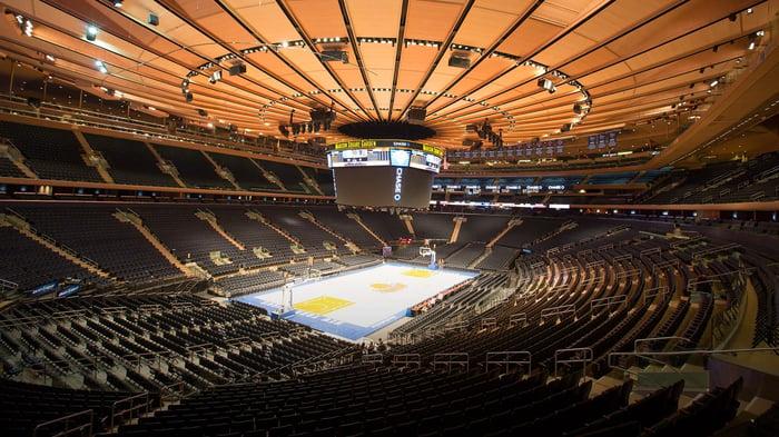 Madison Square Garden as set up for basketball season.