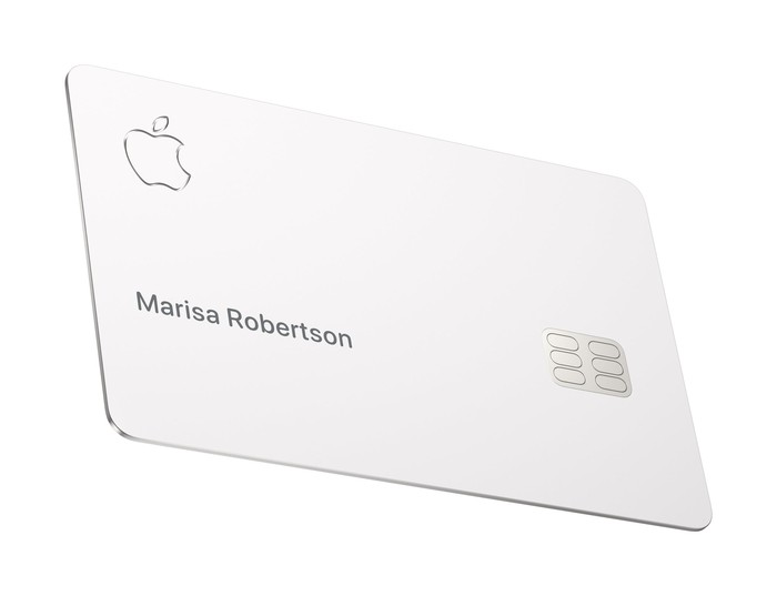 The Apple Card with the Apple logo, a chip, and a name