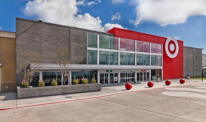A Target store under a blue sky.