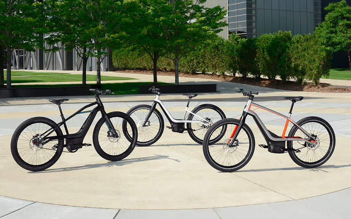 Three Harley-Davidson prototype electric bicycles