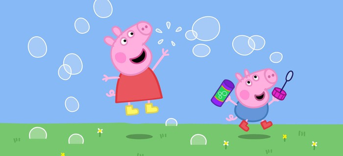 Peppa Pig blowing bubbles with brother George.