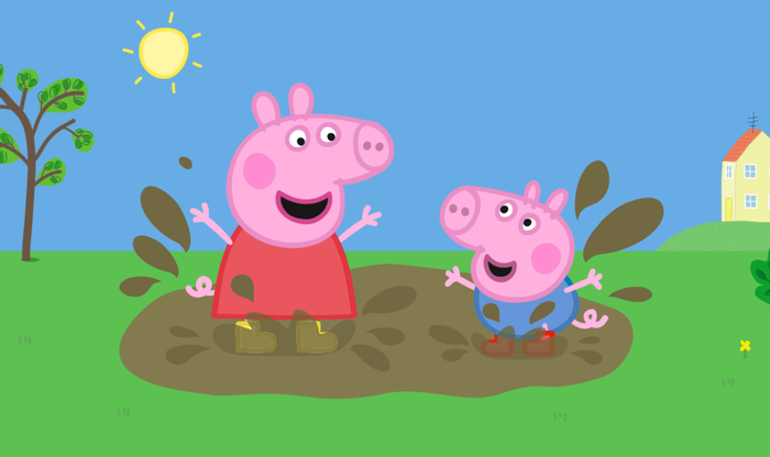 Two animated young pigs splashing in the mud in a scene from eOne's Peppa Pi.