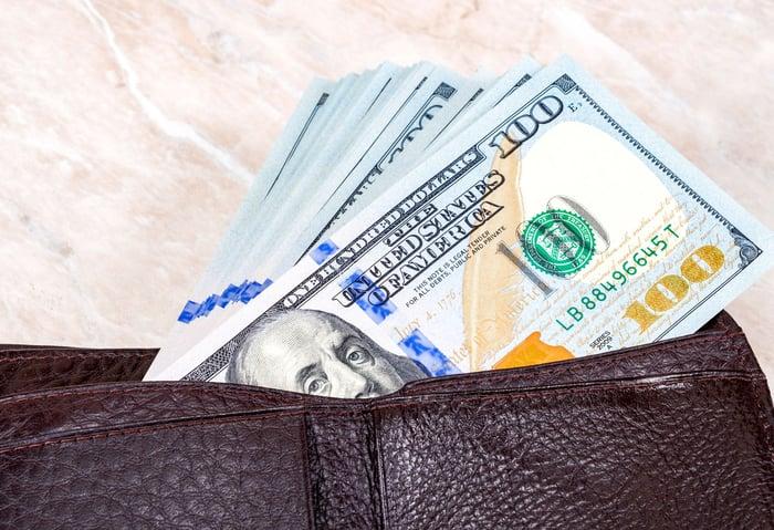 A wallet full of hundred dollar bills