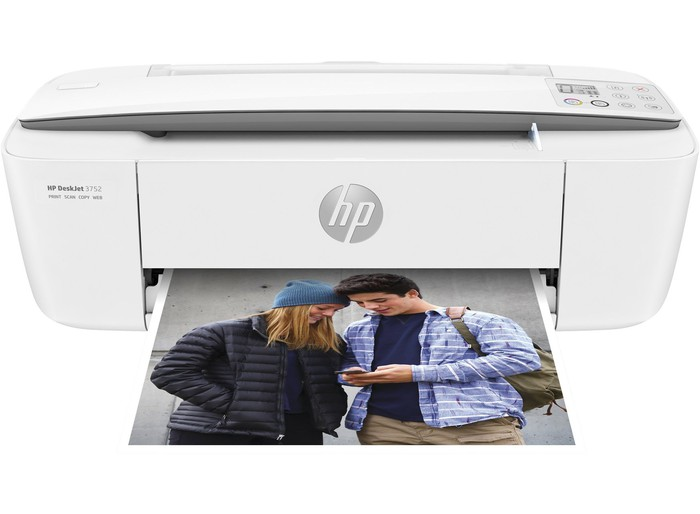 White HP printer with a photo of two people getting printed.