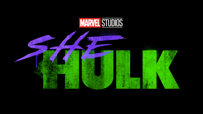 The words Marvel Studios She Hulk on a black background.