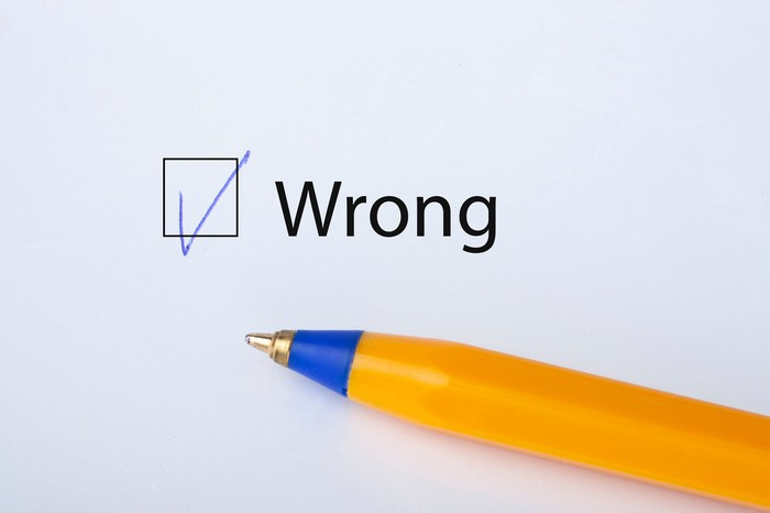 A pen next to the word Wrong with a checked box next to it.