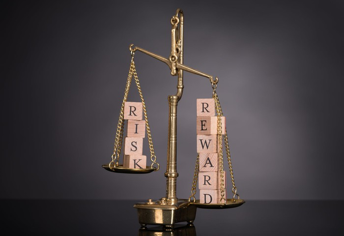 A scale weighing wooden blocks spelling out risk and reward
