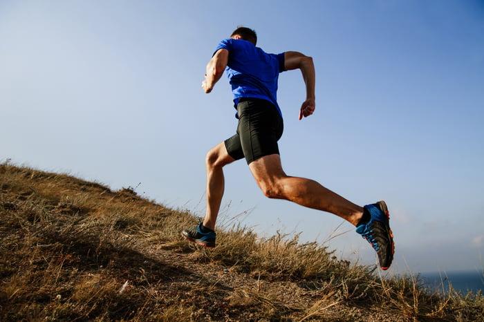 A man running up a hill