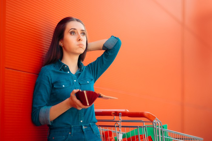 A young woman leaning against the wall with an open wallet in her hand and an empty shopping cart by her side.