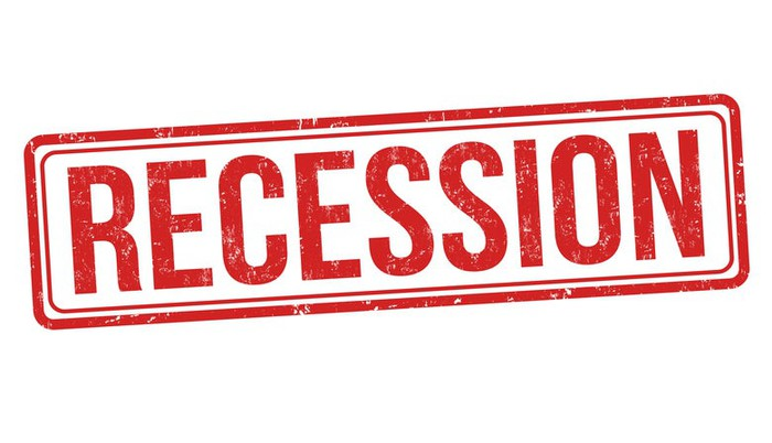 The word 'recession' in red capital letters.