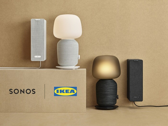 Ikea bookshelf speaker and lamp