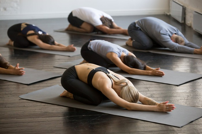 Yoga students hold a pose in class.